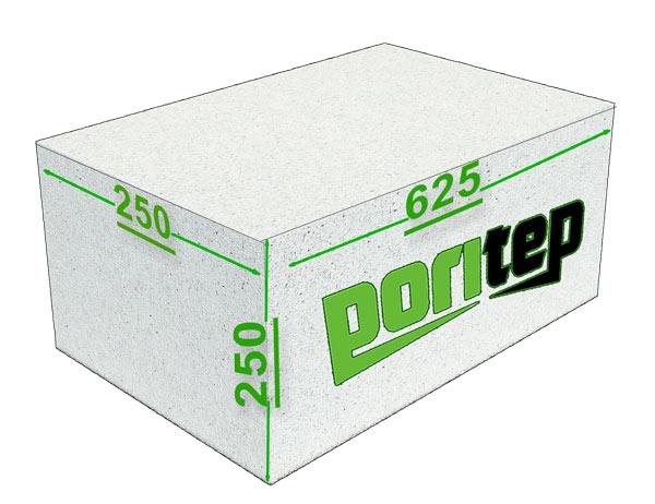 Газосиликатные блоки Поритеп 625х250х250